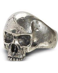 John Varvatos Sterling Silver Skull Ring - Metallic
