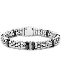 Lagos Sterling Silver & Black Ceramic Black Caviar Diamond Link Bracelet