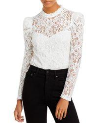 Aqua Lace Puff Sleeve Top - White
