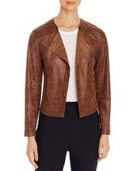 Lyssé Trent Faux - Leather Open Jacket - Brown