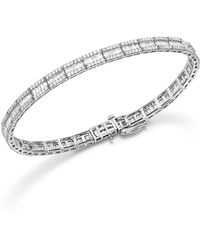 Bloomingdale's Baguette And Round Diamond Tennis Bracelet In 14k White Gold