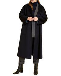 Marina Rinaldi Tempera Belted Long Coat - Blue