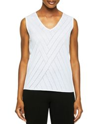 Misook Burnout Knit Tank Top - White