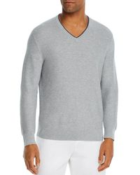 Bloomingdale's Cotton Tipped Textured Birdseye Classic Fit V - Neck Sweater - Gray
