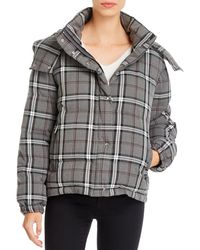 Vince Camuto Plaid Cropped Puffer Coat - Grey