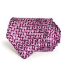 Ferragamo - Gancini Printed Silk Classic Tie - Lyst