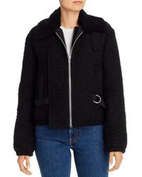 Helmut Lang - Convertible Shearling And Tweed Bomber Jacket - Lyst