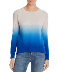 Aqua Cashmere Dip - Dye Cashmere Sweater - Blue