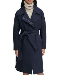 Marc New York Belted Faux Wrap Coat - Blue