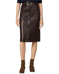 Sandro Nooda Leather Midi Skirt - Brown