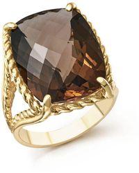 Bloomingdale's Smoky Quartz Rectangular Statement Ring In 14k Yellow Gold - Metallic