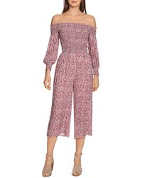 1.STATE Wildflower Off - The - Shoulder Jumpsuit - Multicolour