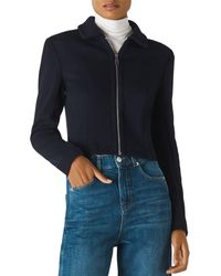 Whistles Zip - Front Jersey Jacket - Blue