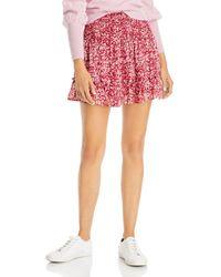 Aqua Smocked Floral Mini Skirt - Pink