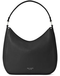 Kate Spade Roulette Large Pebbled Leather Hobo Bag - Black