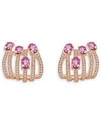 Hueb 18k Rose Gold Spectrum Pink Sapphire & Diamond Drop Earrings