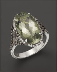 Badgley Mischka Green Amethyst Cocktail Ring With White And Brown Diamonds - Multicolor