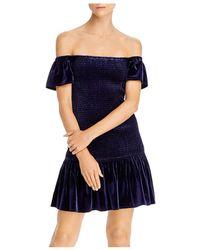 Aqua Smocked Velvet Off - The - Shoulder Dress - Blue