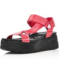 Aqua Women's Sun Strappy Wedge Platform Sandals - Pink