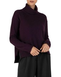 ATM Cashmere High/low Turtleneck - Purple