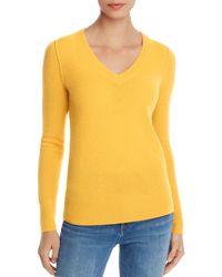 Aqua Cashmere V - Neck Cashmere Sweater - Yellow