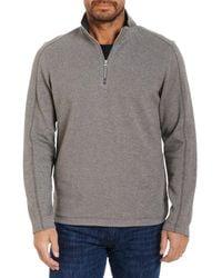 Robert Graham Lindell Cotton Blend Classic Fit Quarter Zip Mock Neck Sweatshirt - Grey