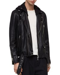 AllSaints - Renzo Leather Biker Jacket - Lyst