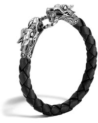 John Hardy Men's Legends Naga Leather Dragon Bracelet - Black