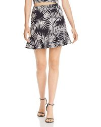 Aqua - Flounce - Hem Palm Print Skirt - Lyst