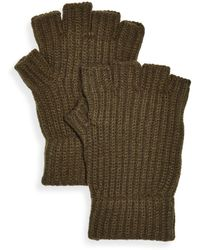 Bloomingdale's The Store At Bloomingdale's Ribbed Fingerless Gloves - Green