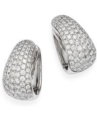 Bloomingdale's Pavé Diamond Huggie Hoop Earrings In 14k White Gold. 3.5 Ct. T.w.
