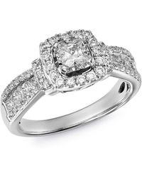 Bloomingdale's Diamond Square Halo Ring In 14k White Gold