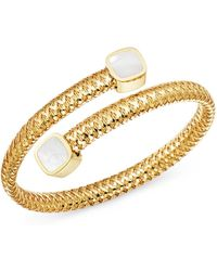 Roberto Coin - 18k Yellow Gold Primavera Mother-of-pearl Square Capped Bypass Bangle - Lyst
