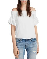 AllSaints - Adela Off-the-shoulder Chambray Top - Lyst