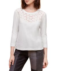 Gerard Darel Alae Floral Embroidered Top - White