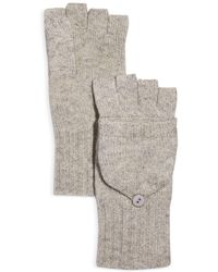 C By Bloomingdale's Ribbed Pop - Top Cashmere Gloves - Gray
