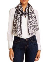 Echo Leopard Print Silk Scarf - Metallic