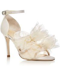 Isa Tapia Gigi Tulle Bow Satin High Heel Sandals - White