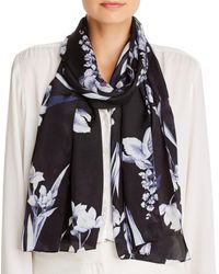 Echo Floral Painting Silk Scarf - Black