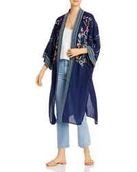 Johnny Was Summer Embroidered Long Kimono - Blue