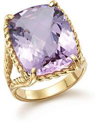 Bloomingdale's Lavender Amethyst Rectangular Statement Ring In 14k Yellow Gold - Metallic