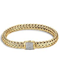 John Hardy - Classic Chain 18k Gold Medium Bracelet With Diamond Pavé - Lyst