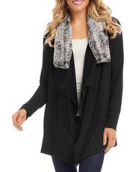Karen Kane Faux Fur Collar Jacket - Black