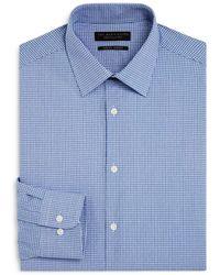 Bloomingdale's Mini Check Slim Fit Dress Shirt - Blue