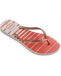 fe5559c4ec69 Havaianas - Women s Slim Usa Watercolor Flip-flops - Lyst