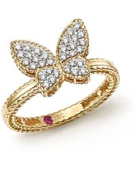 Roberto Coin - 18k Yellow Gold Tiny Treasures Diamond Butterfly Ring - Lyst