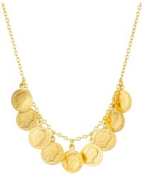 Argento Vivo Antique - Style Coin Necklace In 14k Gold - Plated Sterling Silver - Metallic