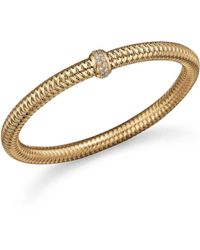 Roberto Coin - 18k Yellow Gold Primavera Stretch Bracelet With Diamonds - Lyst