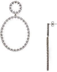 Nadri Tulle Large Frontal Hoop Earrings - Metallic