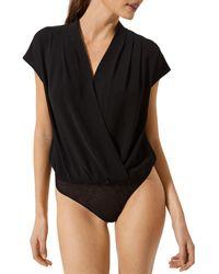 Astr Wrap Front Bodysuit - Black